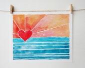 Wave Art - Surf Art - Beach Art - Sunny Days Art Print - Pink - Coral - Heart - Beach House - Sunset Art