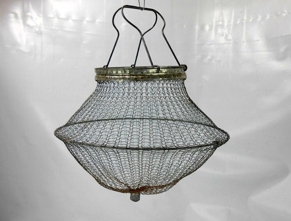 Old wire mesh live bait basket bait fish basket boat bait for Fish wire basket