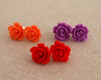 Sterling Silver Rose Studs