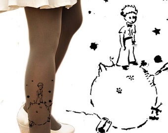 Clothing -The LITTLE PRINCE Tights - size S / M / L  full length tattoo leggings -gray,blue,white,beige