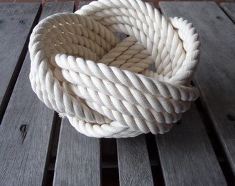 """Nautical Decor Cotton Rope Bowl Basket 7 x 5 """"  Knotted  off white Free Shipping for Christmas"""