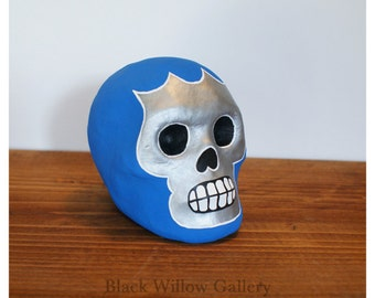 Blue Demon  Skull Mini Day of the Dead Paper Mache