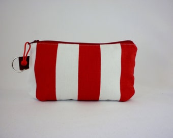 Square Zipper Pouch Red & White Strips