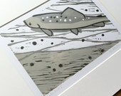 Winter Trout (I) :  3 colour linocut, trout & fly fishing, small edition print