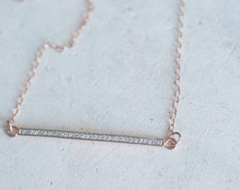 White Diamond Pavé and Solid 14k Rose Gold Bar Necklace