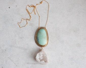 Chrysoprase + Geode Necklace