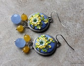 ON SALE Pretty Polymer Clay Applique Floral Earrings in Periwinkle and Yellow