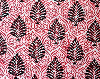 Hand Block Printed Fabric in Beautiful Floral Pattern- One Yard