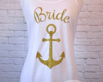 Brides Mate with anchor Nautical Bridal Tank Top Flowy Racerback in Gold Sparkle Glitter Racerback personalized with Name or Initials