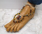 SAFARI QUEEN. Black and Amber Leopard Cat barefoot sandals made with hemp. Bellydance and beach fashion! Flora style. HFT-967