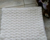 Soft White Shell Stitch Baby Blanket Ready to be Shipped