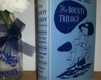 Vintage Books, Rare Book, Old Book, Books for Decor,  The Bounty Trilogy by Nordhoff and Hall