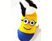 Minions Dog Costume 3D Pet Halloween Costumes Despicable Me Teacup Puppies Chihuahua Clothes DK994 by Myknitt - Free Shipping