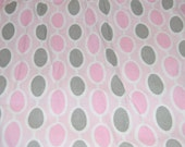 Pink and Gray Oval Fitted Crib or Toddler Bed Sheet