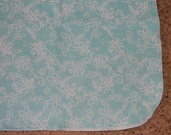 Teal and White Flowered XL Receiving Blanket