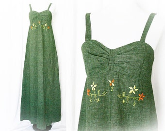 Vintage 70s Embroidered Maxi Dress Olive Green Empire Floral Festival Dress XS S