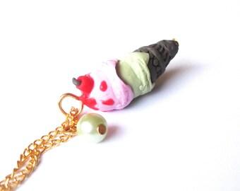 Cherry Ice Cream ( ice cream necklace food neckace polymer clay jewelry ice cream cone chocolate ice cream miniature ice cream )