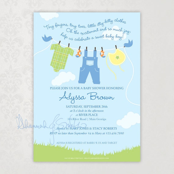clothesline baby boy shower invitation print your own