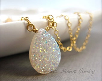 Druzy Pendant Necklace, Sparkly White Rainbow Druzy Necklace in Gold Fill, Vanilla Druzy Quartz Jewelry