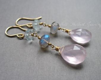 Rose Quartz Earrings with Labradorite and Aquamarine, Gemstone Earrings, Dangle Earrings in 14K Gold Fill