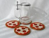 Pepperoni Pizza Felt Coasters, Hostess Gift, Pizza Party, MugMats Set of Four  Classic Pie