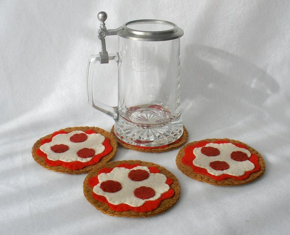 Pepperoni Pizza Felt Coasters, Hostess Gift, Pizza Party, MugMats Set ...