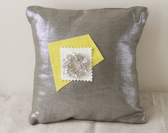 MERRY DELIGHT 2 pillow decorative metallic linen leather crystal brooch small handmade gift