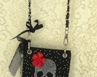 Cross Body PURSE  - Rhinestone ART Skelly GIRL with Guns and Roses -  Rocker Festival Bag
