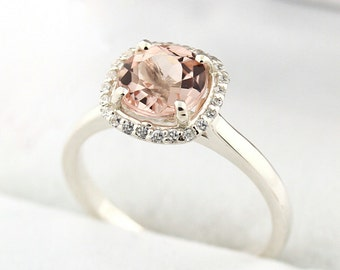 7mm Round 1.25 ct Natural  Morganite Solid 14K White Gold Diamond Engagement Ring - Gem843****SPECIAL****