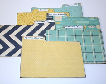 Recipe Divider Tabs, Set of 6, Teal Yellow and Navy Recipe Divider Cards, Kitchen Themed Recipe Cards, 4x6 Recipe Divider Cards