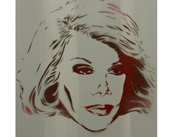 Joan Rivers Portrait Comedy Painting 11x14 Wall Art Gay Icon Vintage Hollywood Graffiti Art On Canvas Street Art Pop Art Andy Warhol Banksy