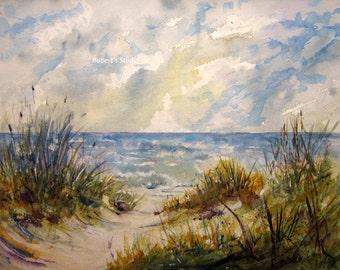 Fine Art Print of original watercolor landscape painting, art print, beach painting, beach art, seascape, watercolor art, beachscape