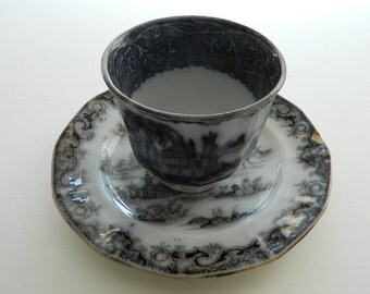 antique black transferware / ironstone / two pieces / plate and cup / Whampoa