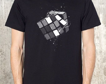 Rubik's Cube and Paint Splatters - Men's T-Shirt - Available in S, M, L, XL and 2XL