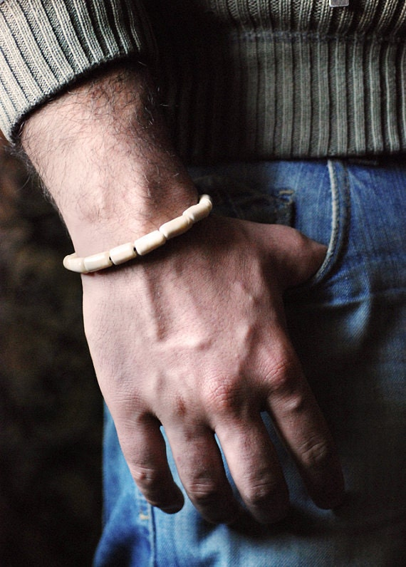 Men bracelet, Personalized Men bracelet, beaded bracelet, Ivory Murano Lampwork Glass Beads