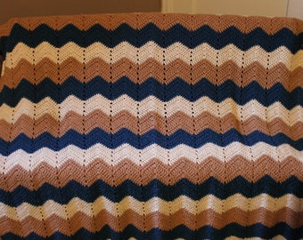 Afghan Chevron blue cream mocha for your hipster friend