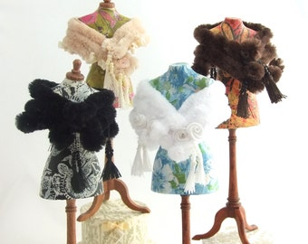 Miniature Dollhouse 1/12th Scale Faux Fur Beaded Tasseled Stoles