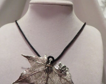 "21"" Silver Coated Maple Leaf Pendant Necklace on Black Silk, necklace, pendant, leaf, maple leaf"