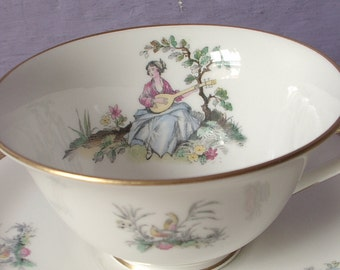 Vintage 1950's Royal Worcester teacup and saucer, Victorian woman playing the mandolin, English china teacup, Gift for musician