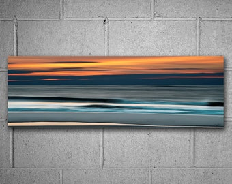 Ocean Sunrise Panoramic Metal Print 12x36 inch Hanging Wall Art, Abstract Photography, Ready to Hang Art, Orange, Blue