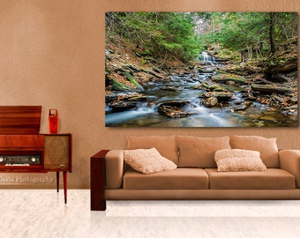 Mountain Stream Landscape 30x45 inches Limited Edition Large Metal Wall Art, Vivid Metal Print, Home or Office art, Ready to Hang, Green