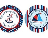 PRINTED Baby Shower Nautical Round Favor Stickers - Nautical Labels for Party Favors with Anchor or Ship  ***DISCOUNTS AVAILABLE***