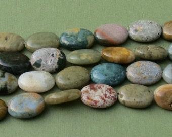 Ocean Jasper Beads - 10x15mm Flat Ovals - 8 inch strand of 14 beads