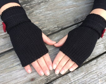 Black and Red, Fingerless Gloves, Bow gloves, Fingerless Gloves with Bow, Knit Fingerless gloves, Wrist Warmers, Hand Warmers