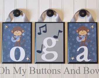 Crib Name Letters . Children's Name Letters . Hanging Name Plaques . Wall Letters . Nursery Room Decor . Monkey . Rock star . Rock Monkey