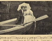 Victorian Lovers In Rowboat w/ Musical Bars  - Digital Hand Designed Art - Scrapbooking, Card Making & Crafts - PRINTABLE DOWNLOAD