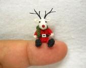 Miniature Reindeer - Tiny Amigurumi Crochet Mini Doll Stuffed Animal - Made To Order