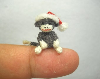 Mini Christmas Sock Monkey Doll - Amigurumi Tiny Crochet Miniature Stuffed Animal - Made To Order