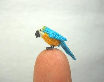 Mini Parrot in Dome - Blue White Yellow - Micro Amigurumi Miniature Crochet Bird Stuffed Animal - Made To Order