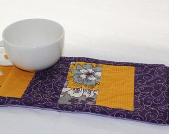 A Yellow Gray Purple Masterpiece Quilts Mug Rug I